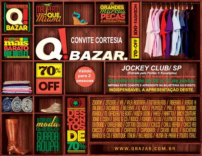 Quer ir ao Q Bazar sem pagar nada para entrar?